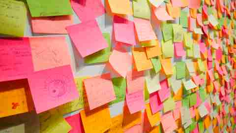 Post-it notes filled with reminders to focus on homework