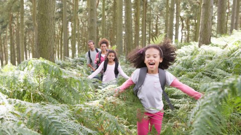 A family hiking together in the woods, a great exercise idea for kids