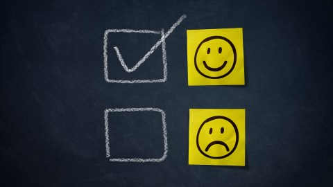 Happy face and sad face, positive thinking advice for teens