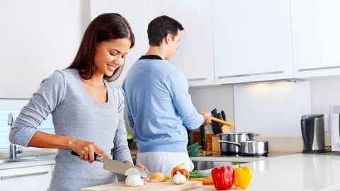 Instead of spreading your food prep around the whole kitchen, set up designated areas where you'll chop, mix, and serve. You'll cut down on preparation and cleaning time, and if each chef stays in one place, you'll be able to have your child or spouse help without bumping into each other unnecessarily.