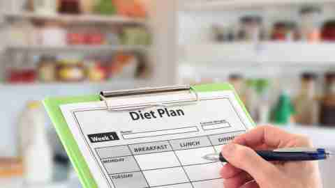 A woman writes out a diet plan for the week to help meet her ADHD weight loss goals.