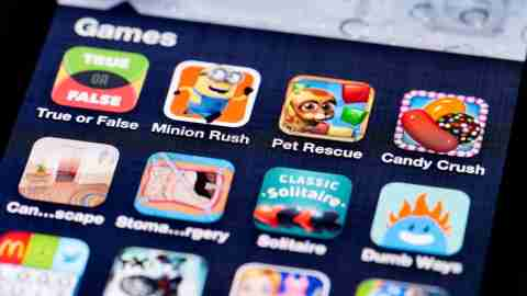 Phone screen covered with apps and time-wasting games
