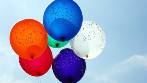 Balloons floating into the sky after a parent-teacher conference