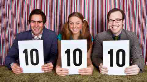 A panel of judges hold up perfect 10 scorecards, a reminder for adults with ADHD to stop negative thoughts and focus on positives