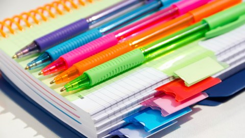 Multicolored pens to help a child overcome frustration during homework time