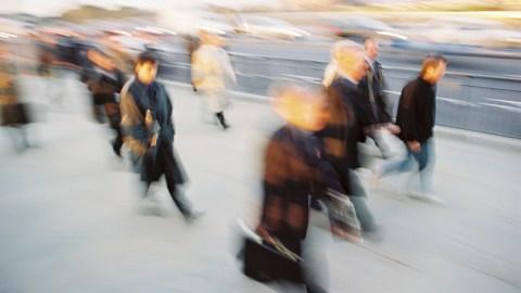 "A blur of people walking on the sidewalk wondering, ""How does ADHD medication work?"""