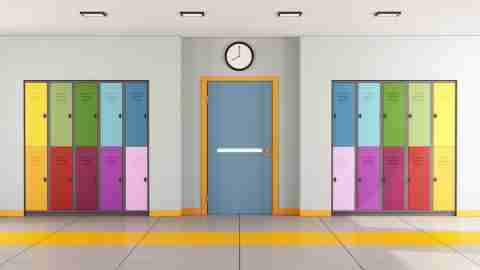 Brightly colored lockers to help improve education