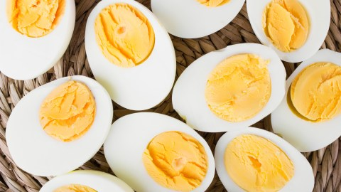 Halved hard boiled eggs, one of ADDitude's quick breakfast recipes