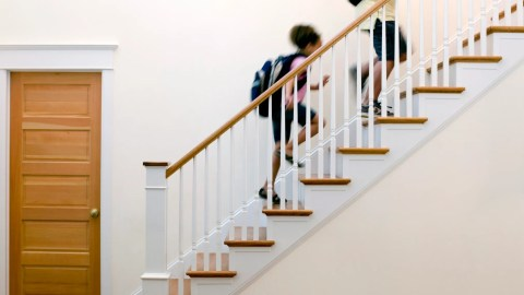Kids with ADHD and anxiety running up stairs
