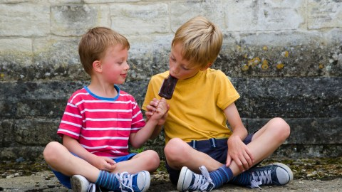 Two brothers with ADHD sharing a popsicle.