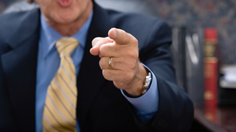 Man with ADHD pointing finger