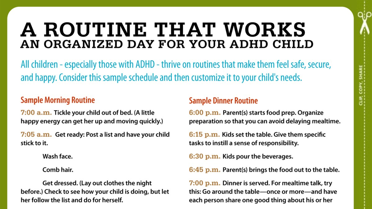 routines for kids with adhd your sample schedule. Black Bedroom Furniture Sets. Home Design Ideas