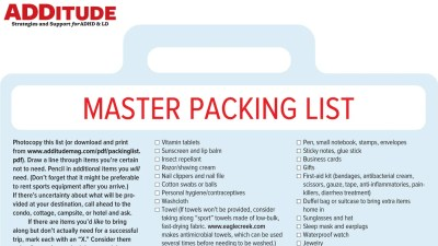Master packing list for adults with ADHD