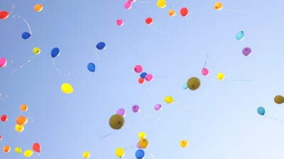 Balloons in the sky represent happiness that can come with having ADHD
