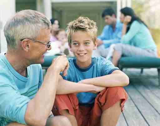 Focus on grandfather and ADHD grandson.