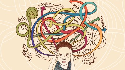 Conceptual image of an ADHD woman not knowing what to do