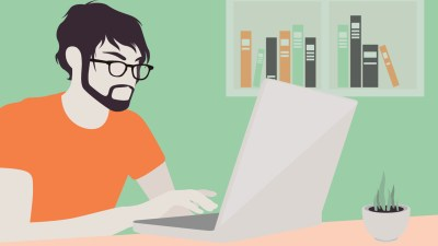 A cartoon man being productive on his laptop