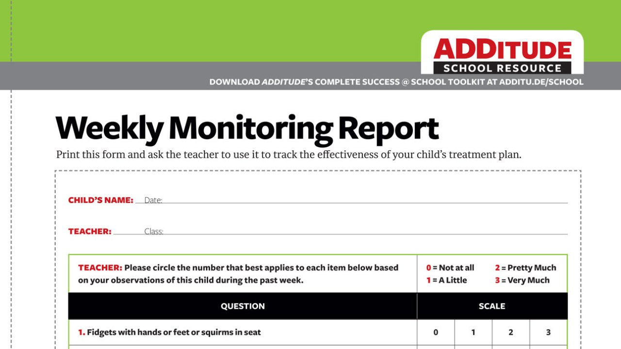 Weekly Monitoring Report: Is Your Child's Treatment Working?