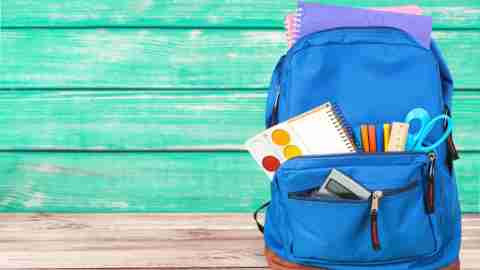 An organized backpack so children have less problems finding homework