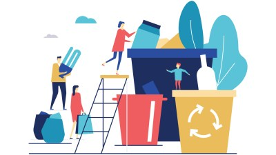 Illustration of People Getting Rid of Clutter