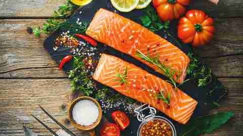 Fish and veggies, foods with omega-3