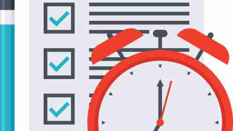A checklist, a pencil, and a clock, tools needed to get your act together