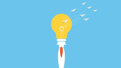 An illustration of a lightbulb with paper airplanes around it, representing strategies for managing ADD at work