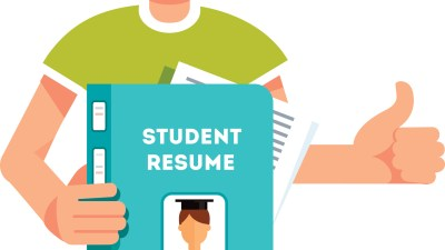 A teen holding a resume that he created in a summer transition program for students with ADHD