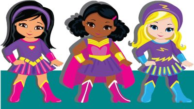 Three young girls dressed as superheroes, with parents who learned how to raise self-confident daughters