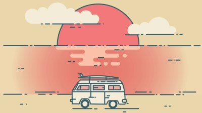 A minivan in front of a sunset, owned by a family who loves it despite its flaws