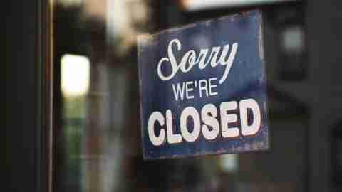 Sorry We're Closed on shop door