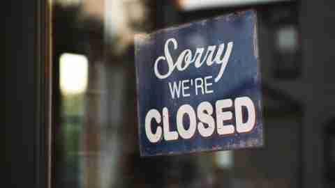 Sorry We're Closed on shop door