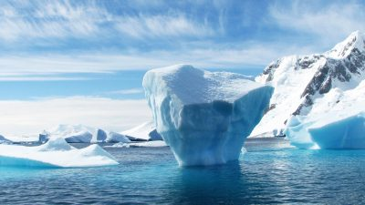 An iceberg hidden below the water's surface, like symptoms of ADHD