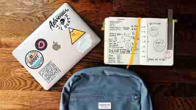 An organized backpack of a college student with ADHD who has developed executive functions