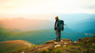 Hiker standing alone