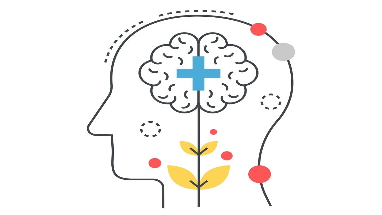 An illustration of a brain with a plus sign in it symbolizes treating ADHD to prevent substance abuse disorders.