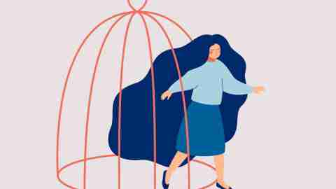 adhd challenges break free from low self esteem: a woman walking out of a bird cage.
