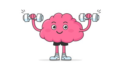Cute happy brain mascot having training exercise with weights