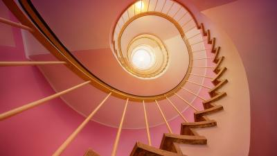 A spiraling staircase used to show the relationship between ADHD and anxiety