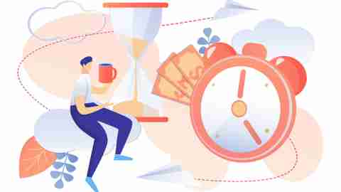 Working Time Management Concept. Man Drinking Coffee Break. Sandglass Running Clock Cash Money Symbol Vector Illustration. Employee Efficiency Worker Productivity Optimization. Procrastination Delay