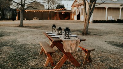 outdoor picnic table set with no people