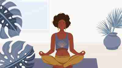 Illustration of a woman meditating at home.