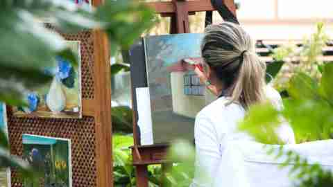 ADHD adult painting alone