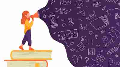 language processing disorder concept involving reading, words, and speech