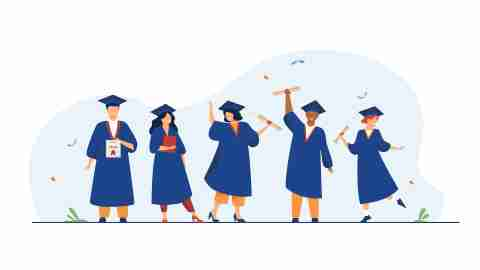 Illustration of five college student sin cap and gown raising their diplomas