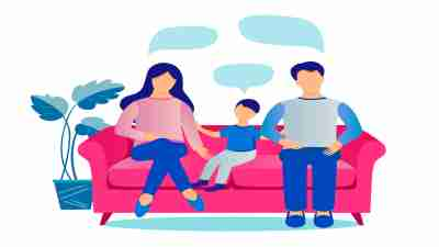 family members - mother, father, and a preschooler son sit on the couch and talk.