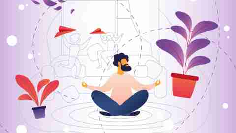 Relaxation, Stress from Parenting and Child Care. Bearded Man Sitting on Floor Apartment and Meditating. Parent Abstrogirovalis from Childrens Noise and Everyday Fuss. Vector Illustration.