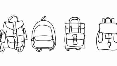 vector set. Hand drawn modern Doodle backpacks. Cartoon sketch of 4 different cool everyday bags.Back to school.For your creative design.Decorative element illustration. Stock vector isolated on white