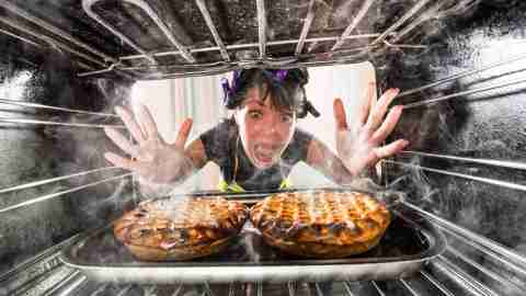 Funny adhd woman overlooked cakes in the oven