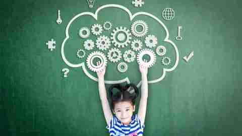 School girl kid student with cloud computing mind, smart brain imagination doodle on chalkboard for science technology education, children psychology and mental health awareness concept